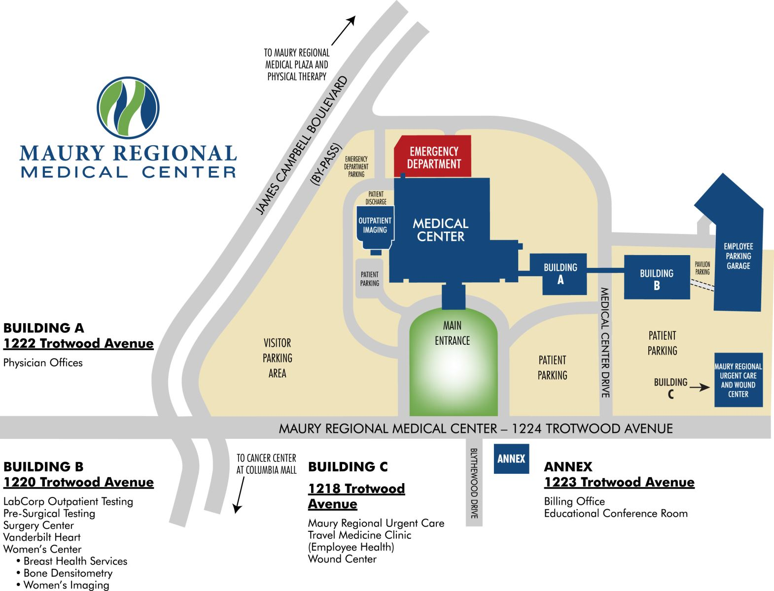 Maury Regional Medical Center Campus Map
