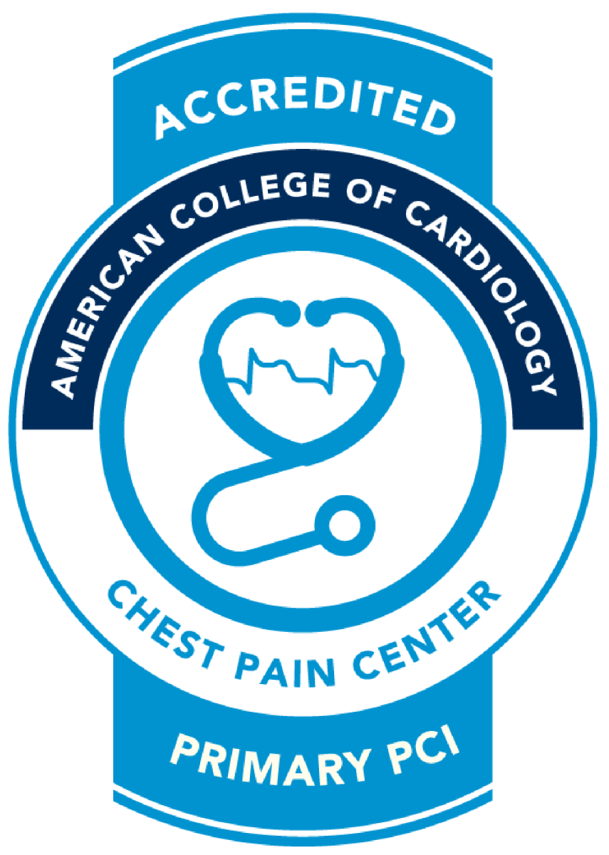 The logo from the American College of Cardiology for Chest Pain Center.